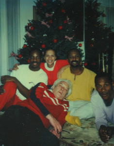 My family of men: Dad, Chip, Chi-Chi (Karel Shook) and friend Gerald one Christmas morning.